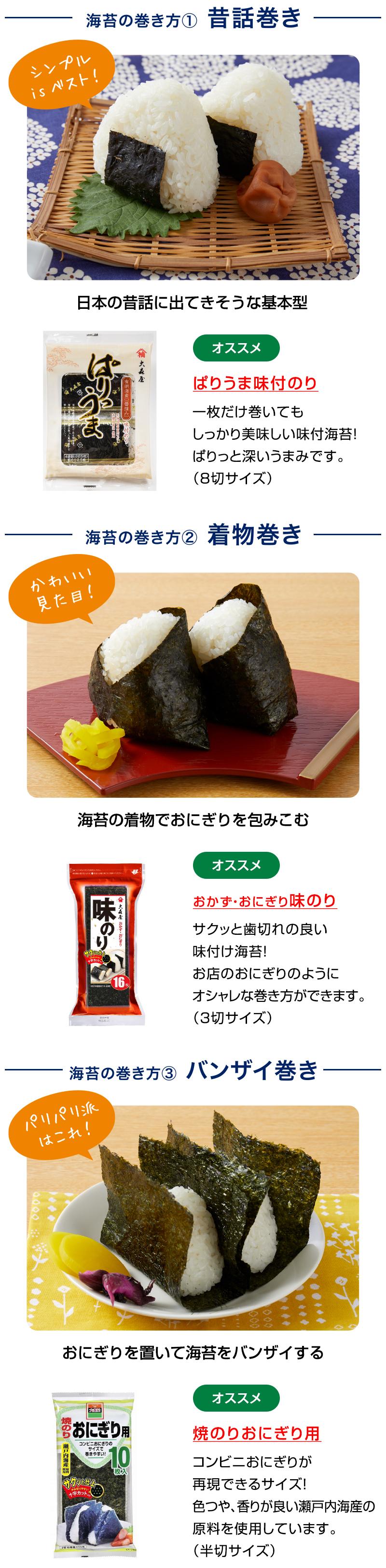 海苔の巻き方① 昔話巻き 日本の昔話に出てきそうな基本型 ぱりうま味付のり 一枚だけ巻いてもしっかり美味しい味付海苔!ぱりっと深いうまみです。 (8切サイズ)/海苔の巻き方② 着物巻き 海苔の着物でおにぎりを包みこむ おかず・おにぎり味のり サクッと歯切れの良い味付け海苔!お店のおにぎりのようにオシャレな巻き方ができます。 (3切サイズ)/海苔の巻き方③ バンザイ巻き おにぎりを置いて海苔をバンザイする 焼のりおにぎり用 コンビニおにぎりが再現できるサイズ!色つや、香りが良い瀬戸内海産の原料を使用しています。 (半切サイズ)
